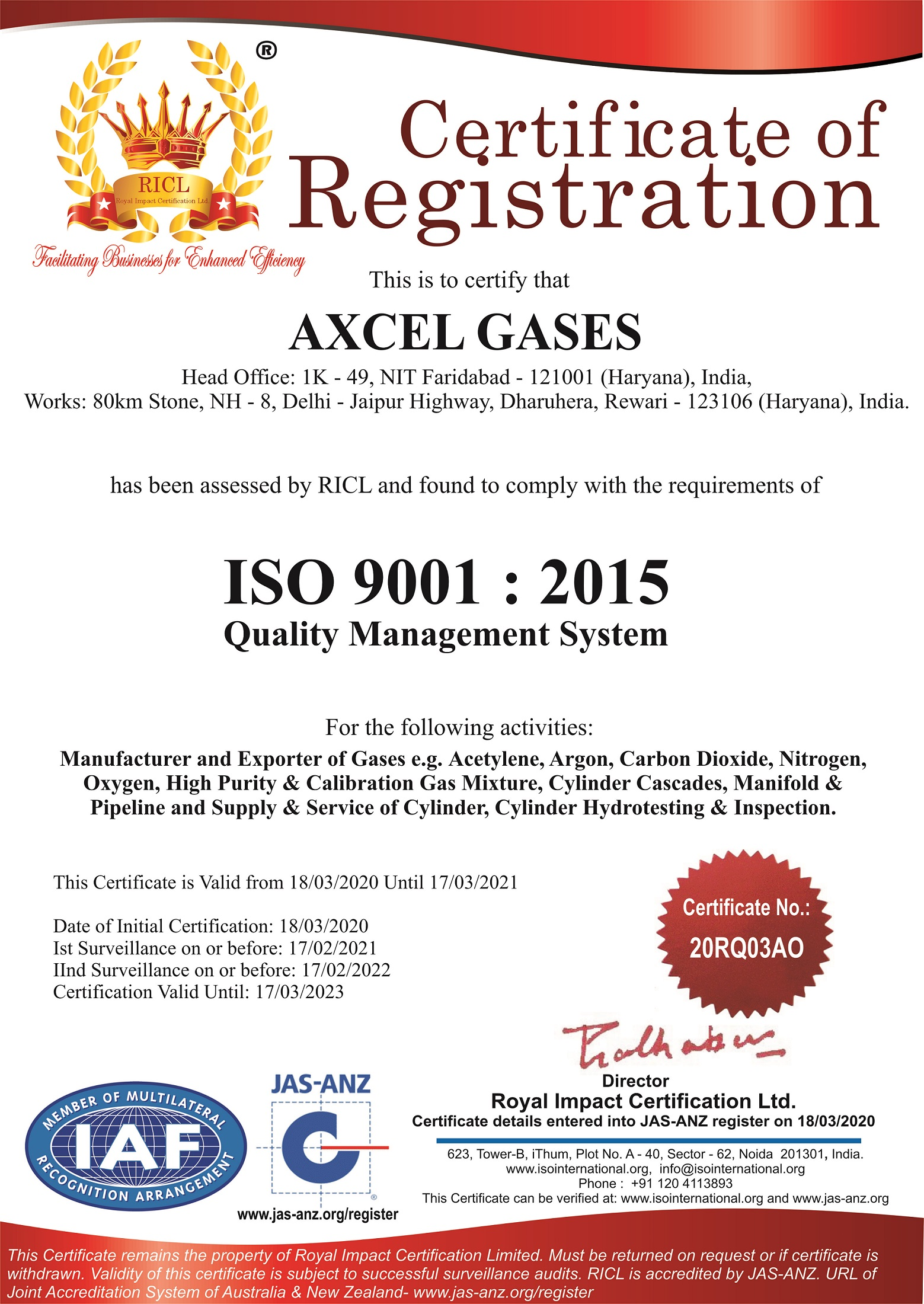 ISO Certificate - Axcel Gases